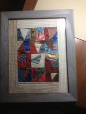 Made from scraps of silk bowties - fabric was not stable so I framed it