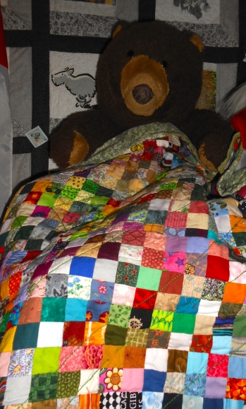 "my old beloved bear Felix and his ""doll quilt""."