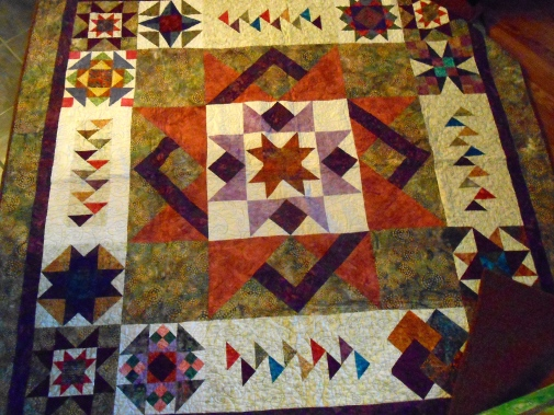 Block of the Month quilt, took a year to finish. First quilt I had long-arm quilted (by Betty Anne Guadalupe)
