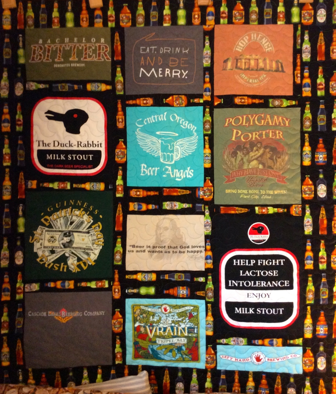 Brewery & beer themed T-shirt Quilt pieced by Terry Hogan, quilted by Betty Anne Guadalupe.