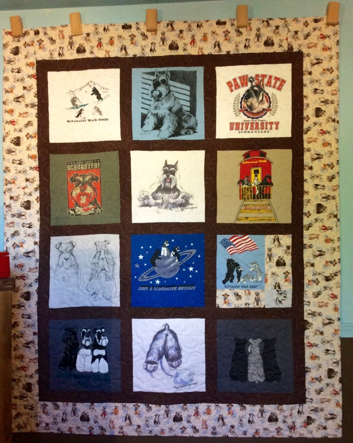 Schnauzer T-shirt Quilt (2015) designed and pieced by Terry Hogan, quilted by Betty Anne Guadalupe
