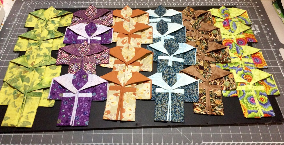 A new batch of miniature kimonos in progress, July 2015