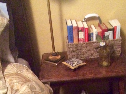 On the bedside table in the guest room