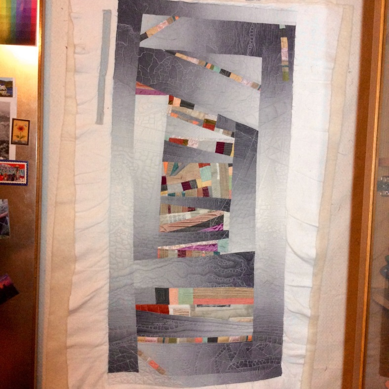 Abandoned Structure (2015, in progress). Designed and pieced by Tierney Davis Hogan, Quilted by Betty Anne Guadalupe.