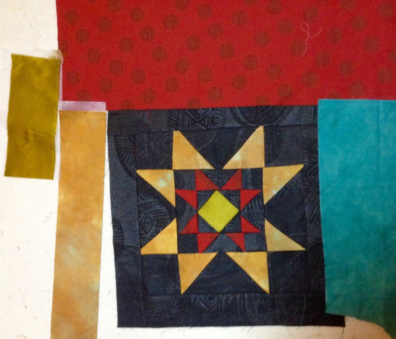Ohio Star, recycled silks (in progress)