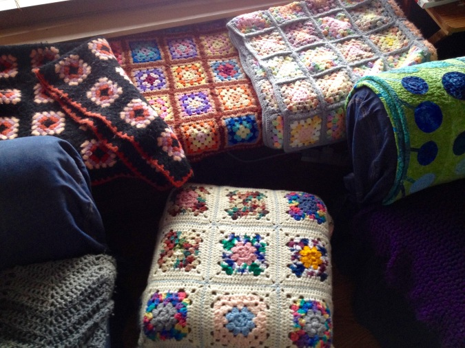 Rescued Granny Square Afghans - all safe and loved in my home