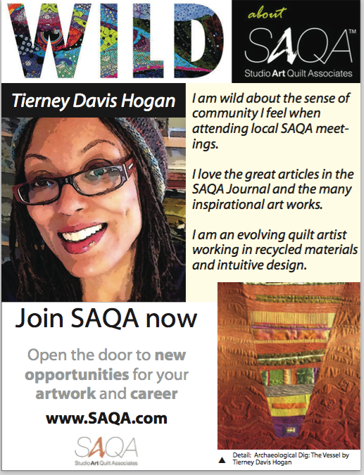 SAQA ad, Winter 2015 Edition Fiber Art Now