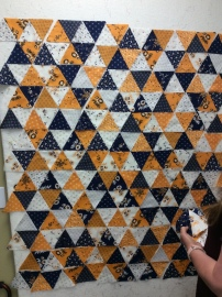 "School colors ""1000 pyramids"" style quilt for a child"